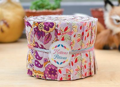 "Quilt Jelly Roll Fabric 20 Strips 2.5x44"" Chic Scandinavian Floral in Purple"