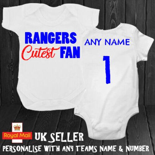 Rangers Cutest Fan Personalised Babygrow Bodysuit Romper Boys Girls