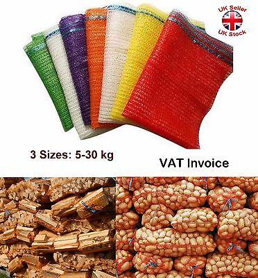 1x Net Woven Sacks Vegetables Logs Kindling Wood Log Mesh Bags 15kg sample