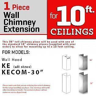 Zline Chimney Extension Wall Range Hood Up To 10ft Ceiling Ke Kecom 30 For Sale Online Ebay