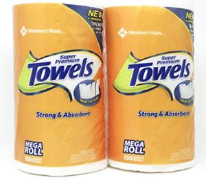 Each Roll 150 Sheets Member/'s Mark Super Premium Paper Towels 2 Rolls