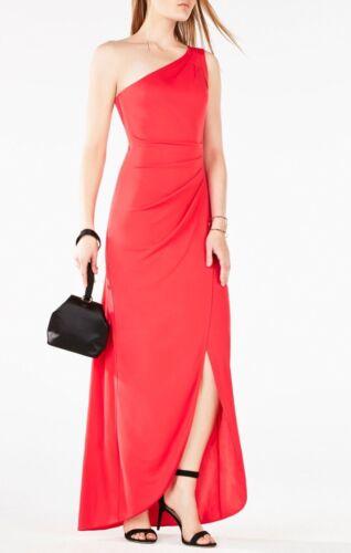 BCBG Max Azria /'Courtney/'~ Dark Pink Ruched One Shoulder Evening Gown L NEW $298