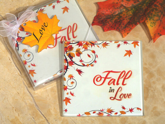 40 Autumn Leaves Fall In Love Glass Coaster Bridal Wedding Favor in Gift Box