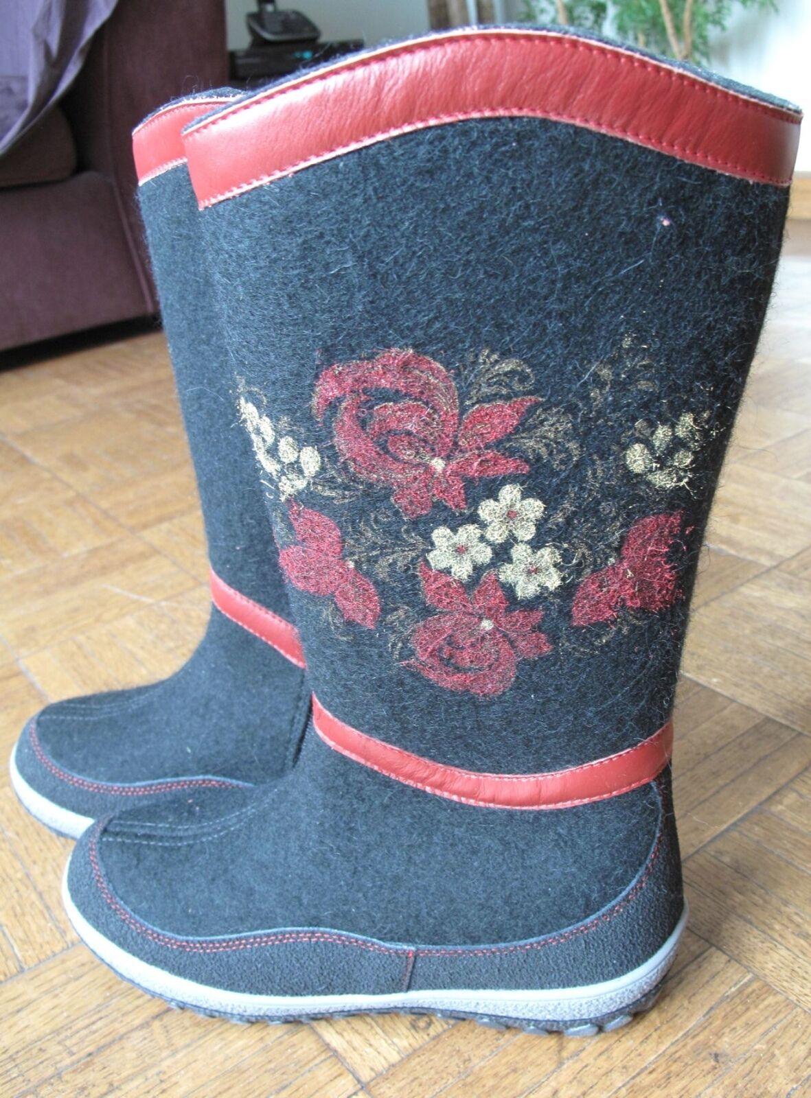 Ruso Para Mujer Fieltro Fieltro Fieltro Negro botas Impreso Flores Talle 9 O 39 hecho Rusia валенки  ventas en linea