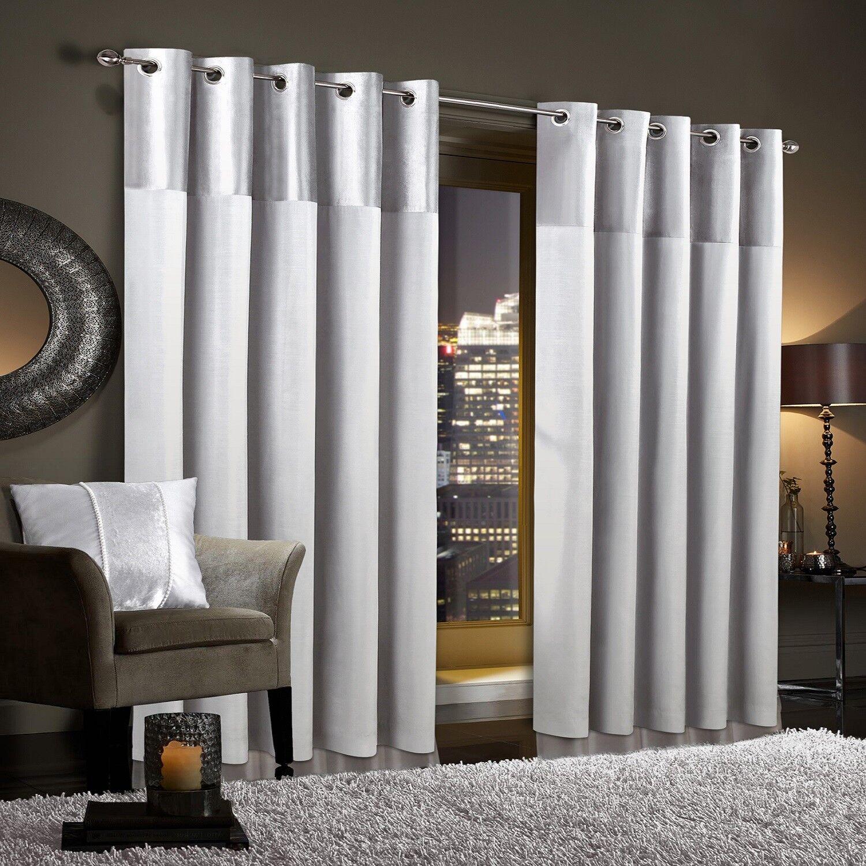 Gran Reno White Crushed Velvet Curtains Pair Eyelet Ring Top Fully Lined Ebay