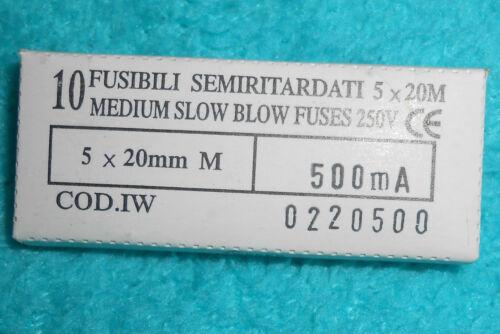 10x Feinsicherung  5 x 20 mm Feinsicherung  Sicherungseinsatz  500mA Neu