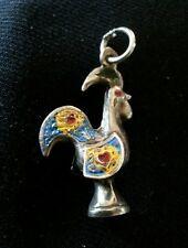Vintage Sterling Silver Enamel Portuguese Rooster Good Luck Charm