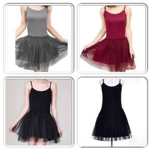 Ladies-Womens-Tutu-Dress-Strap-Mini-Skater-Chiffon-Red-Burgundy-Grey-Dance