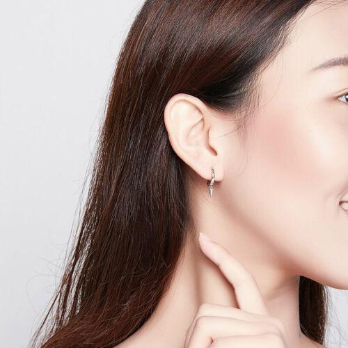 Authentic European 925 Sterling Silver Geometry Hoop Earrings For Women Grils