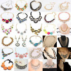 Fashion Charm Bib Statement Chunky Choker Chain Crystal Pendant Necklace