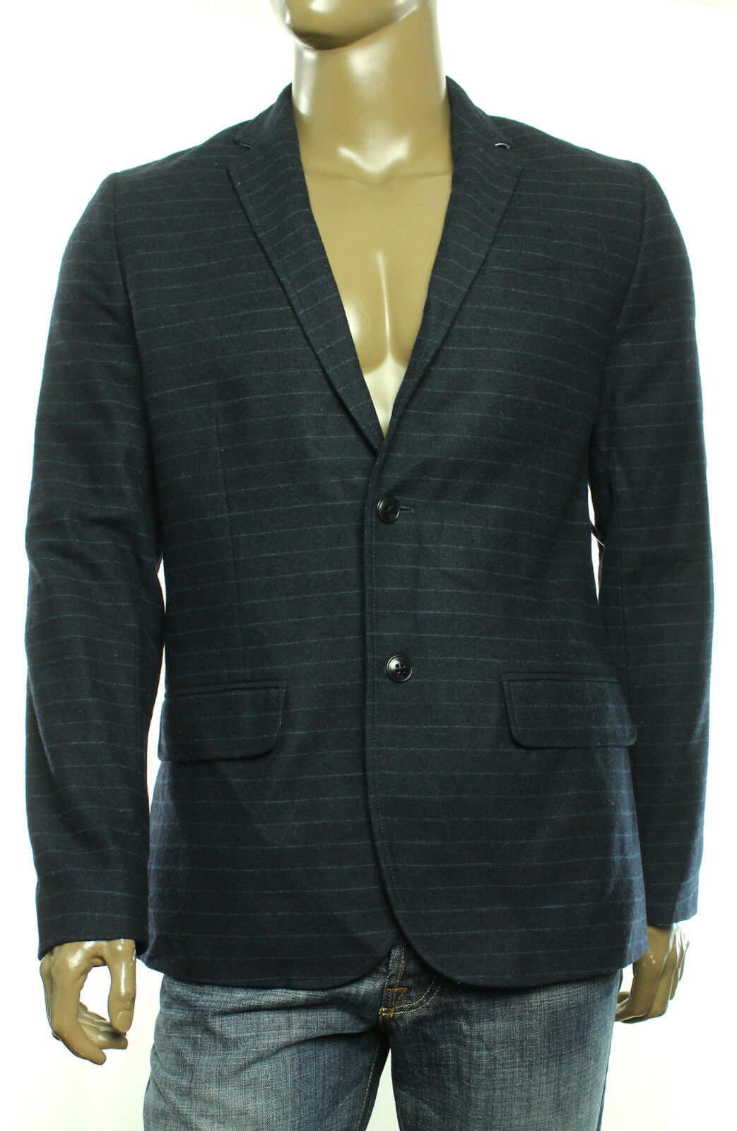 31bded14 Tommy Hilfiger Blue Mens Large L Striped Two Button Wool Sport Coat ...