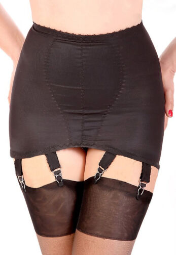 6 Suspenders NYLONZ Vintage Style Classic OB 6 Strap Girdle Black MADE IN UK