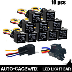 10Pack-12V-30A-Fuse-Relay-Switch-Harness-Set-SPST-4Pin-12-AWG-Hot-Wires