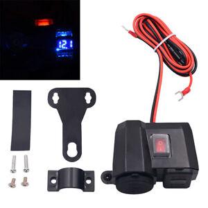 Moto-Presa-Accendisigari-Presa-Doppia-USB-Caricabatterie-LED-Voltmetro-Parti