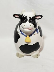 Vintage-Cow-Cookie-Jar-Cute-Smiling-Heifer-w-Removable-Lid-10-034-x7-034-Pre-owned
