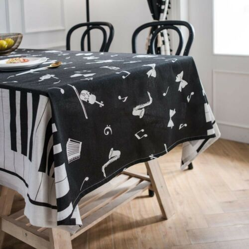 Black Piano Tablecloth Table Cloth Music Dining Table Cover Kitchen Home Decor