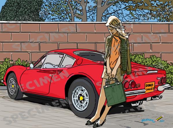"""""""ferrari Dino 246gt"""" Dessin (8 Ex Disponibles) Serie Dream Car N°7 Par Jiceher"""