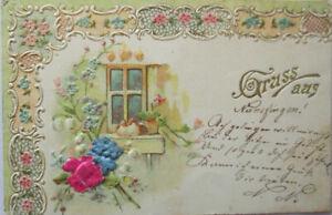 """""""Gruss aus, Stoffblumen,Vogel, Fenster"""" 1902, Stoffprägekarte  ♥  (3552)"""