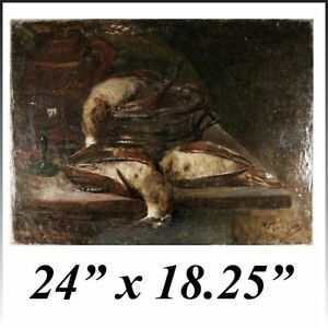 Superb-19th-c-Antique-French-Oil-Painting-Nature-Morte-Still-Life-with-Birds
