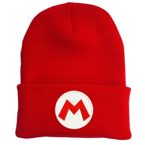 SUPER MARIO LUIGI BROS RED LOGO EMBROIDERED BEANIE HAT CAP HALLOWEEN COSTUME