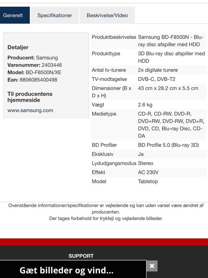 Dvd-afspiller, Samsung, BD-F8500N