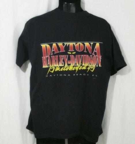 HARLEY DAVIDSON Vintage 90s 1995 T Shirt Large Black Daytona Biketoberfest USA
