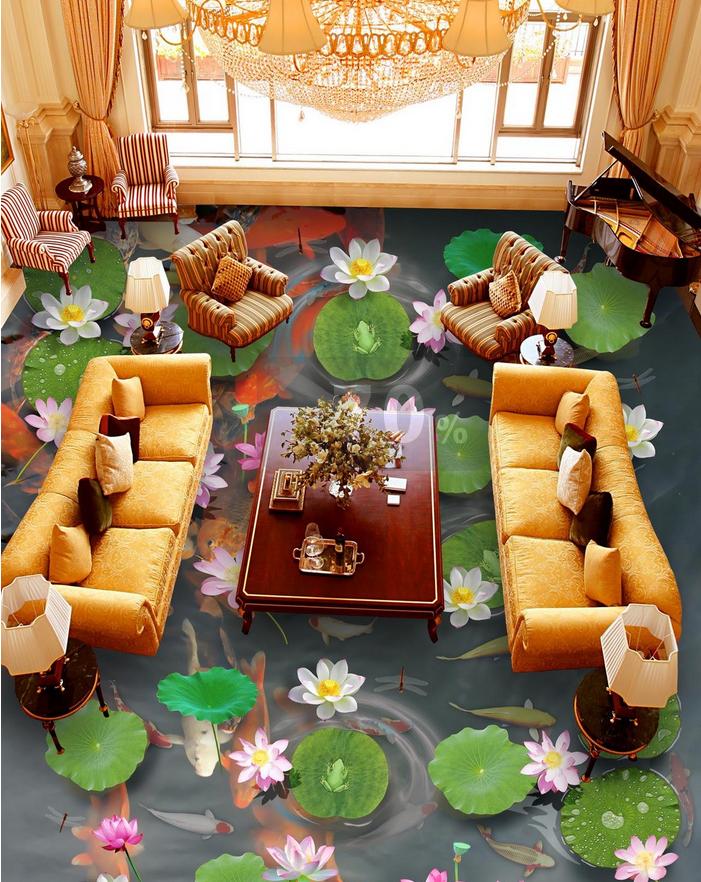 3D Karpfenteich 576 Fototapeten Wandbild Fototapete Tapete Familie DE Lemon