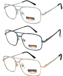 No-Line-Multi-Focal-Reading-Glasses-Clear-Lens-Aviator-Spring-Hinge-Unisex