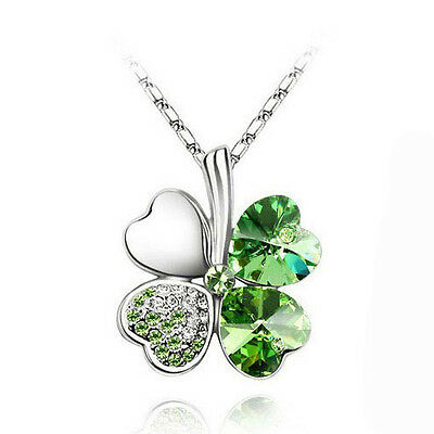 Lucky Green Four-Leaf Clovers Crystal 18K White Gold Plated Chain Short Necklace