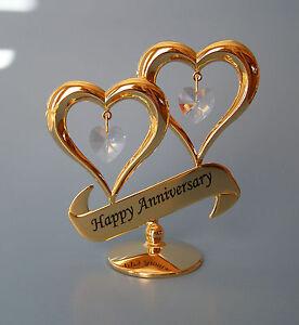 swarovski crystal elements happy anniversary hearts figurine 24kt