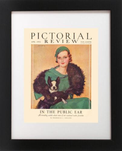 VTG Redhead Hat Woman Dog Pet Portrait BOSTON TERRIER Magazine Poster Art Print