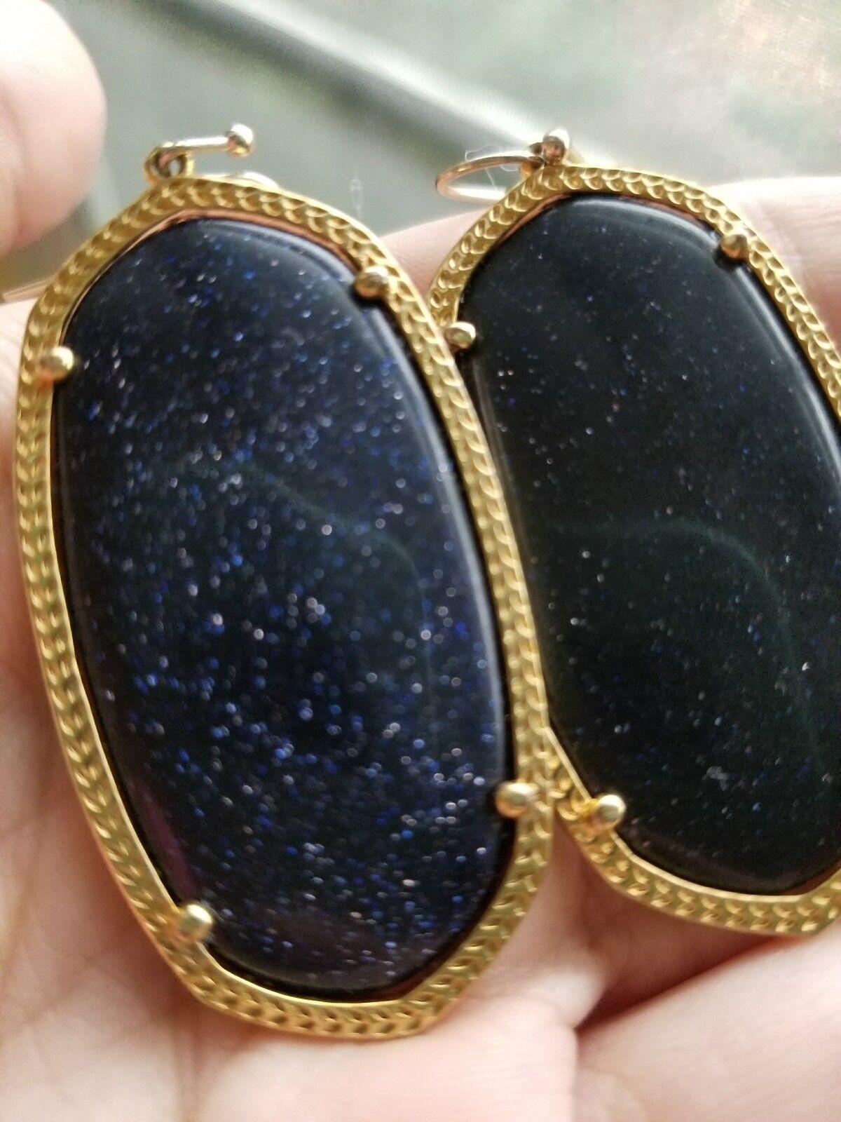 Kendra Scott bluee goldstone Sparkly gold Danielle Earrings