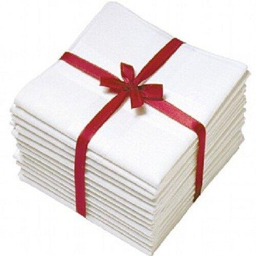 12 x White 100/% Pure Soft COTTON MENS Pocket Square HANDKERCHIEF