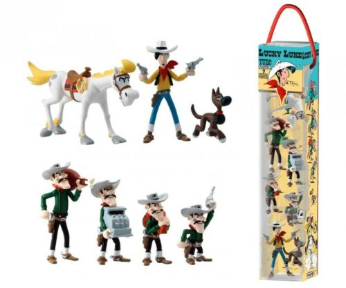 Lucky Luke tubo 7 figurines les Dalton Rantanplan Jolly Jumper 4-10 cm 703879