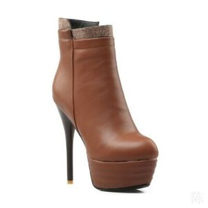 Sexy-Femmes-Bout-Rond-Bottines-compensees-a-talon-haut-Club-Street-Pattern-NEW