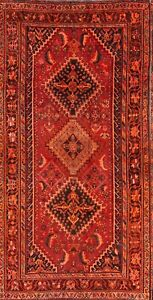 Antique-WOOL-Geometric-Tribal-Qashqai-Handmade-Oriental-Runner-Rug-4x8