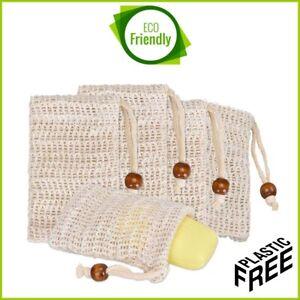 ECO-Soap-Saver-Bag-Sisal-Net-Mesh-Exfoliator-Foaming-Pouch-Natural-ZERO-UK