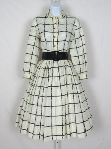 VINTAGE 1960s ANNE FOGARTY DRESS WHITE BLACK STRIP