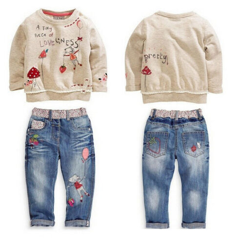US Toddler Kids Baby Girl Top Sweater Sweatshirt+Jeans Trousers Pants Set Outfit