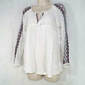 Old-Navy-Peasant-Tunic-Top-Shirt-Tassel-Tie-Crinkle-Women-Size-XS-White-Long-Slv
