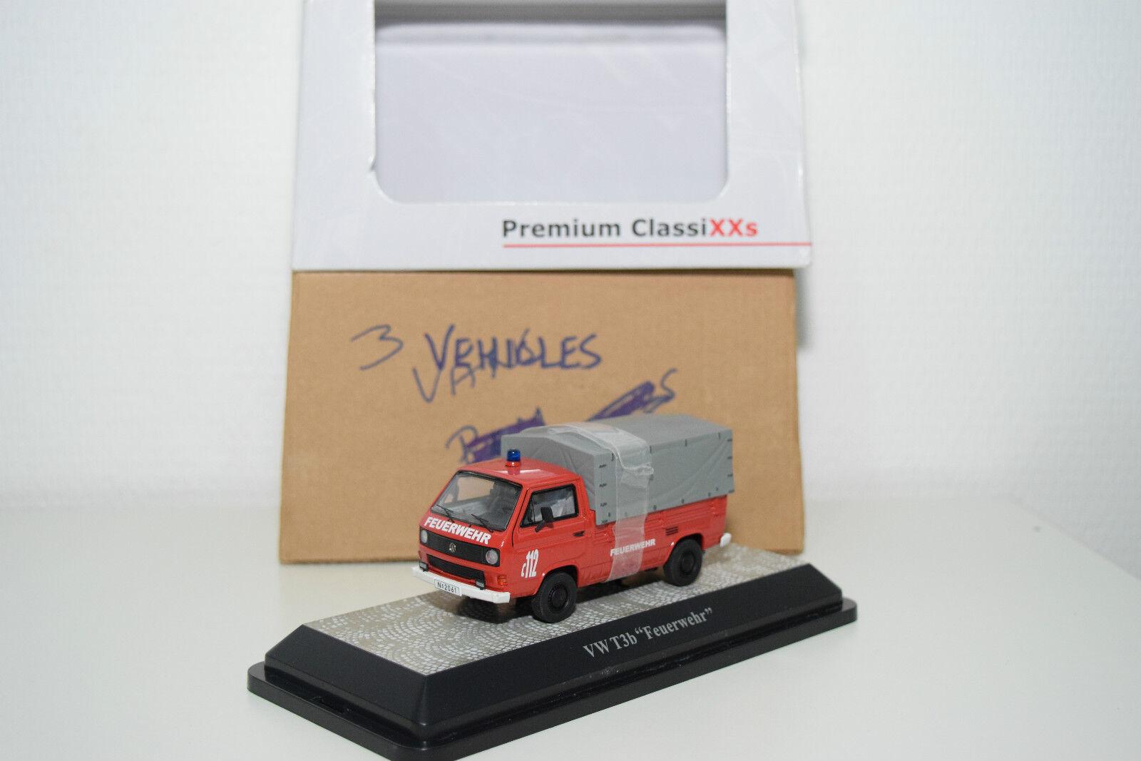 PREMIUM CLASSIXXS 13102 VW VOLKSWAGEN T3 B B B PRITSCHENWAGEN FEUERWEHR MINT BOXED e899a4