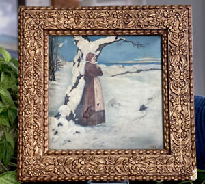 Antique 19C Rococo Gold Gesso Frame Scarlet Letter w History Signed Oil Painting