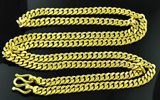 9999 24K Solid Yellow Gold flat handmade curb link  chain necklace  112.50 grams
