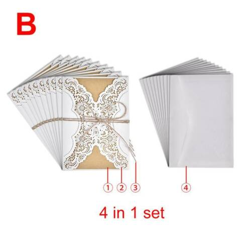 10PCS 4 in 1 set Wedding Laser Cut Invitations Cards With Envelopes Invite Card