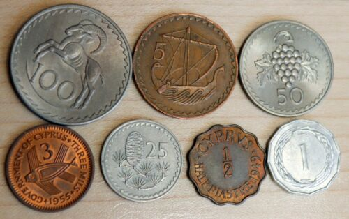 Cyprus Lot of 7 Different Coins Ram Fish Ship Grape...