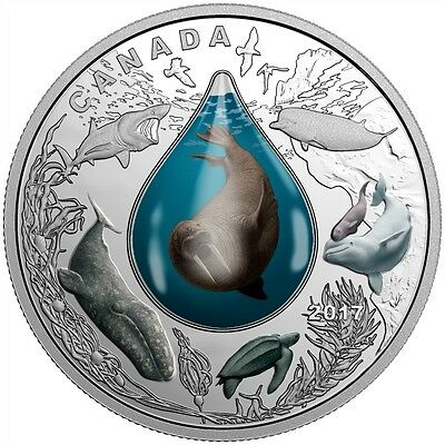 Canadian Underwater Life 3D Water Droplet 2017 $20 1oz Fine Silver Coin
