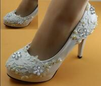 8cm heel white ivory lace crystal pearls Wedding shoes pumps bride size 2.5-8