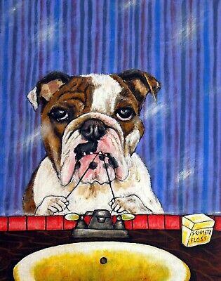 ENGLISH bulldog dog memorial angel halo modern 8.5x11 JSCHMETZ glossy PRINT