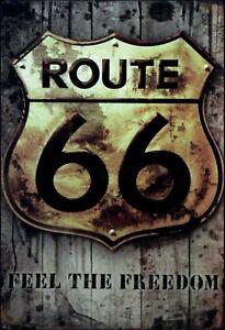 Itineraire-66-Feel-le-Freedom-Panneau-Metallique-Plaque-Voute-Etain-Signer