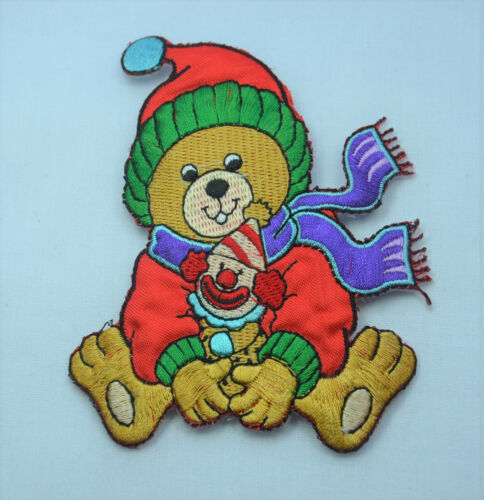 CHRISTMAS XMAS TEDDY BEAR Embroidered Iron Sew On Cloth Patch Badge APPLIQUE